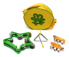 Frog Bag with Star Tambourine, hand bells and triangle