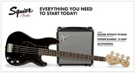 Fender Squier Affinity P Jazz Bass Pack - Black - With Rumble 15 Amp & Accessories