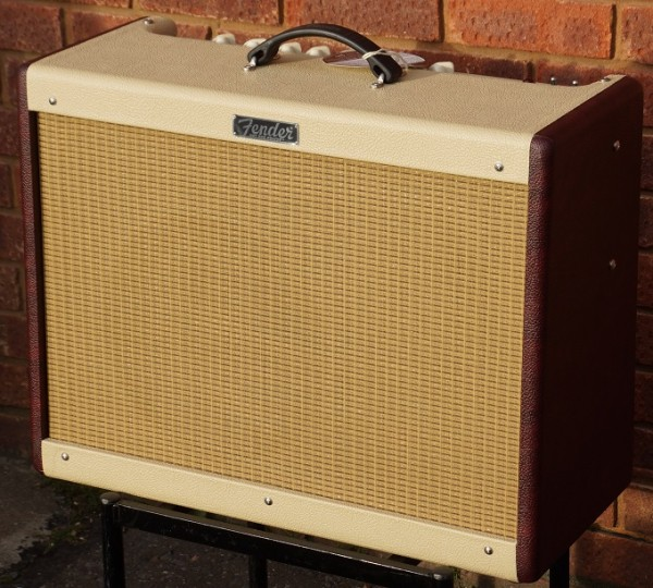 fender hotrod deluxe limited edition  tone wine red white angled box