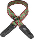 LOCK IT Bob Masse Rock Art Leather End Guitar Strap with Green Lizards
