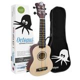 Octopus Soprano Ukulele Outfit in Yellow Natural Finish with  Coloured Strings